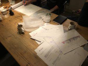 De schetsen van de decorcommissie