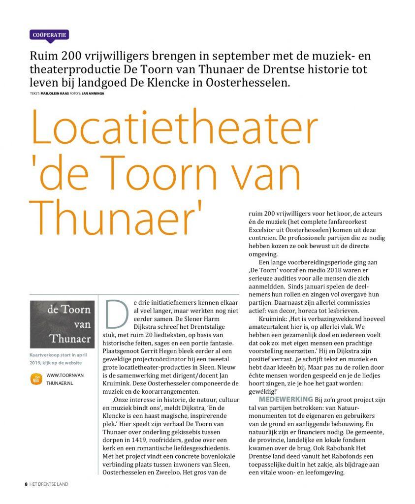 Artikel over de Toorn van Thunaer in de Dichterbij