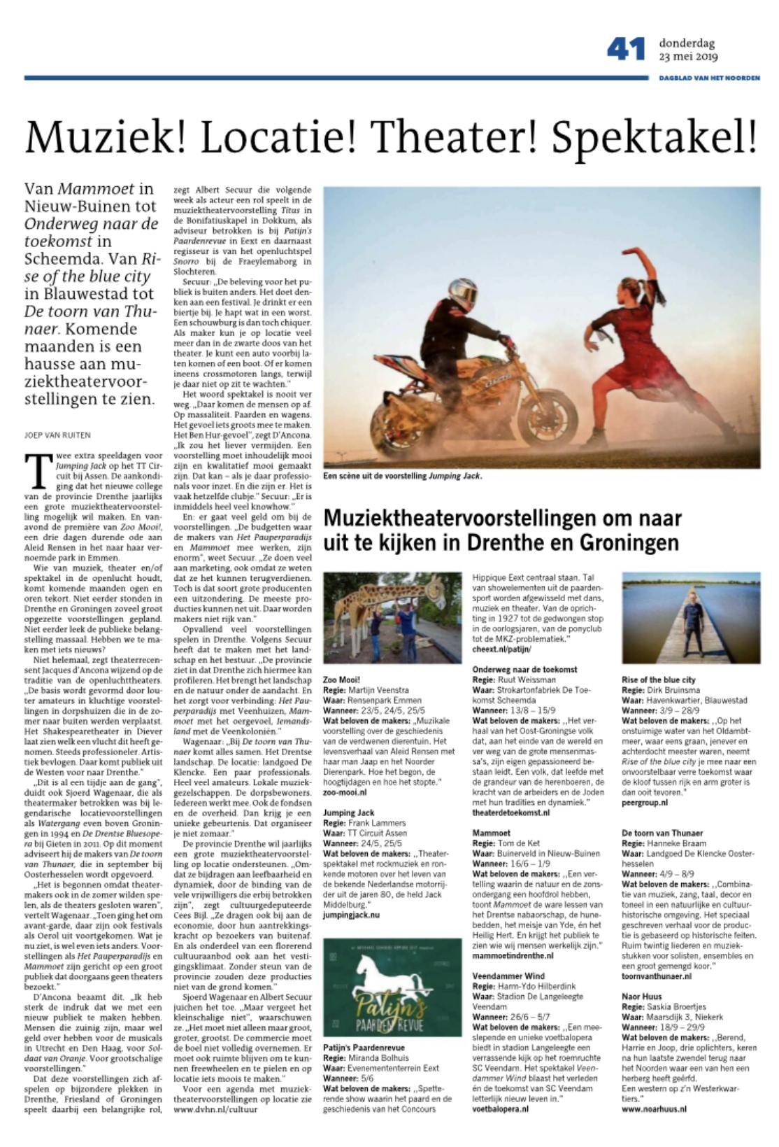 Artikel over openluchttheater in het noorden DVHN